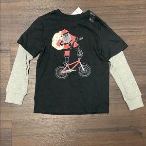 Gap kids Santa bmx bike long sleeve shirt small 6